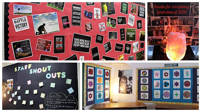 school bulletin boards decorated with positive messages