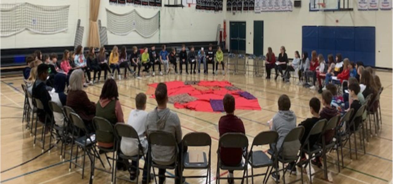 Grade 6 students participated in a Social Studies blanket exercise with a goal to build understanding about our shared history as Indigenous and non Indigenous peoples in Canada. Students used blankets to represent the land of Turtle Island into roles of First Nations, Inuit and Métis peoples.