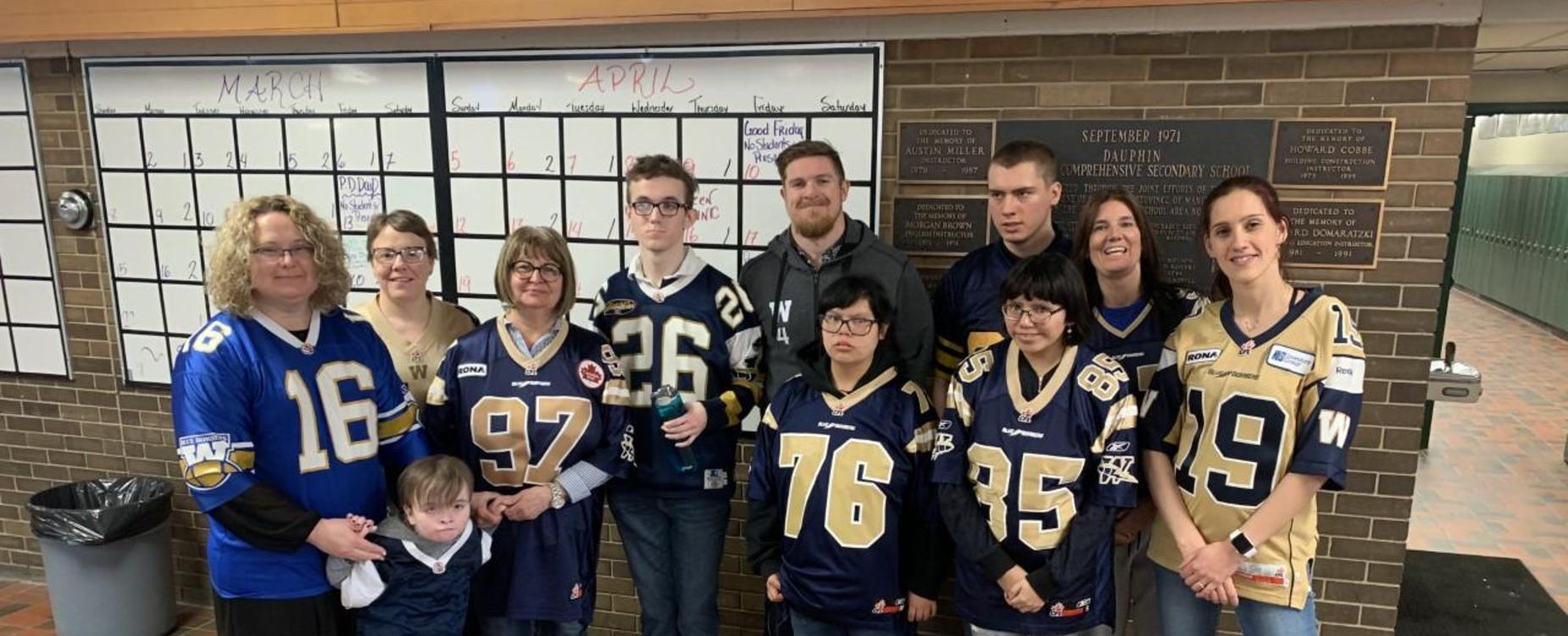 Community Transitions classroom with Winnipeg Blue bomber Adam Bighill
