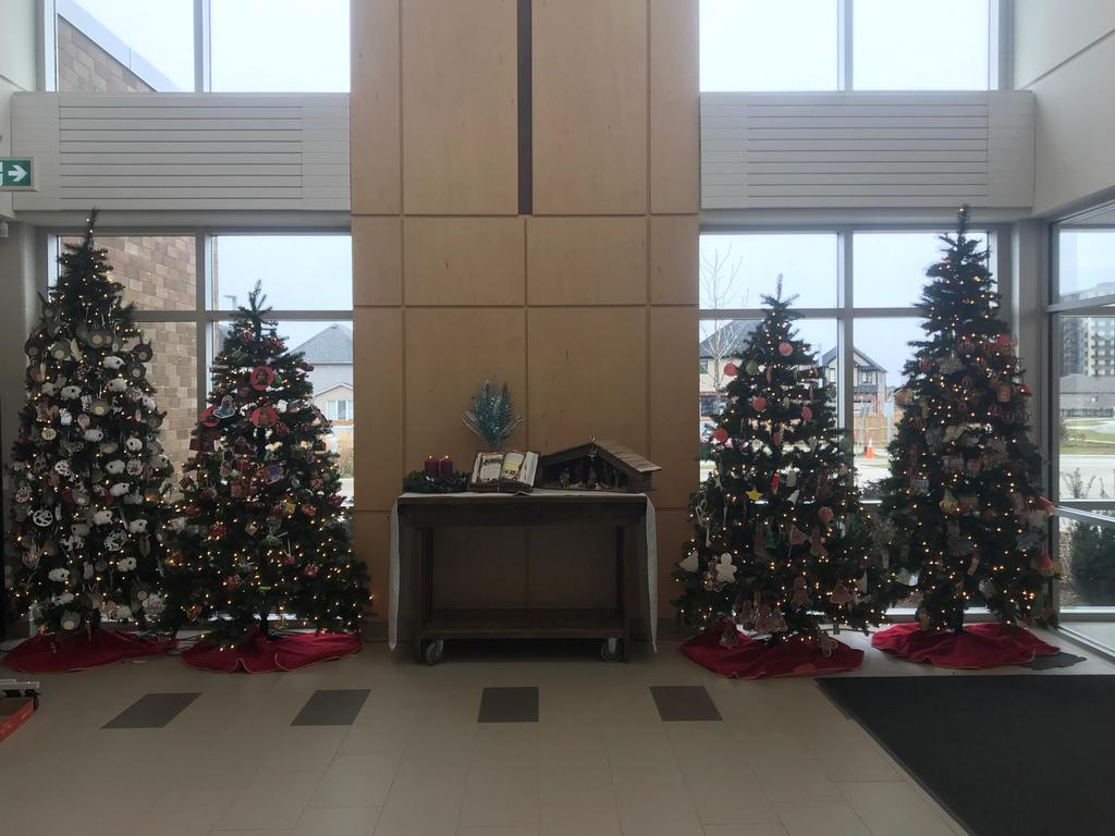 Our 4 Christmas Trees decorated by our students!