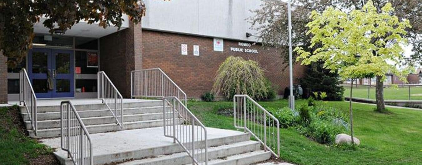 The front entrance of Romeo Public School
