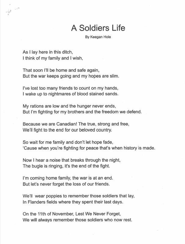A Soldier's Life poem