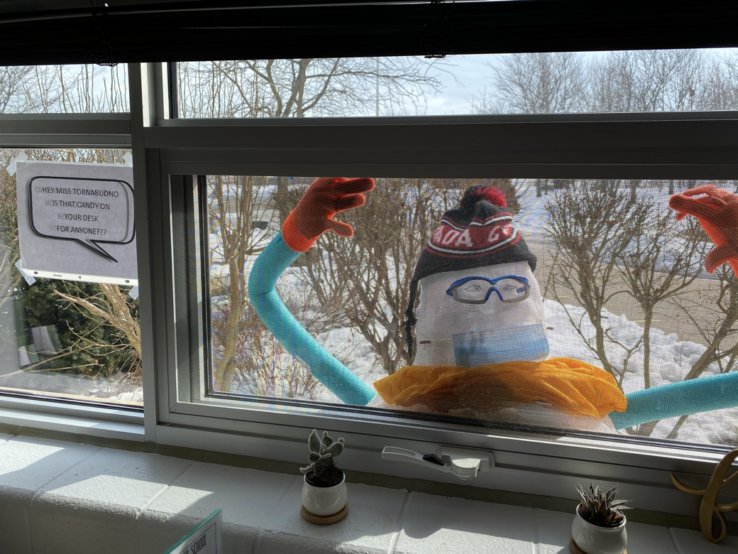 snow person outside vp office