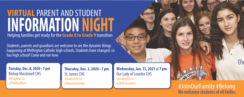Grade 8 to Grade 9 Virtual Information Night Banner