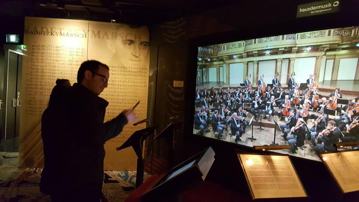 Mr. Pireddu leading the Vienna Symphony Orchestra at the Musik Haus, Vienna, Austria
