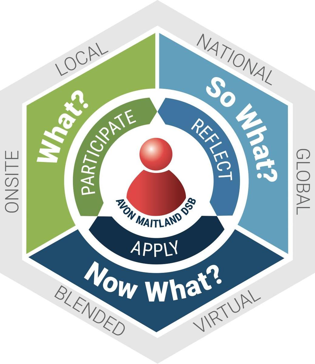 Experiential Learning graphic. Participate, reflect, or apply. What? So what? Now what? Local, national, global. Virtual, blended, on-site.