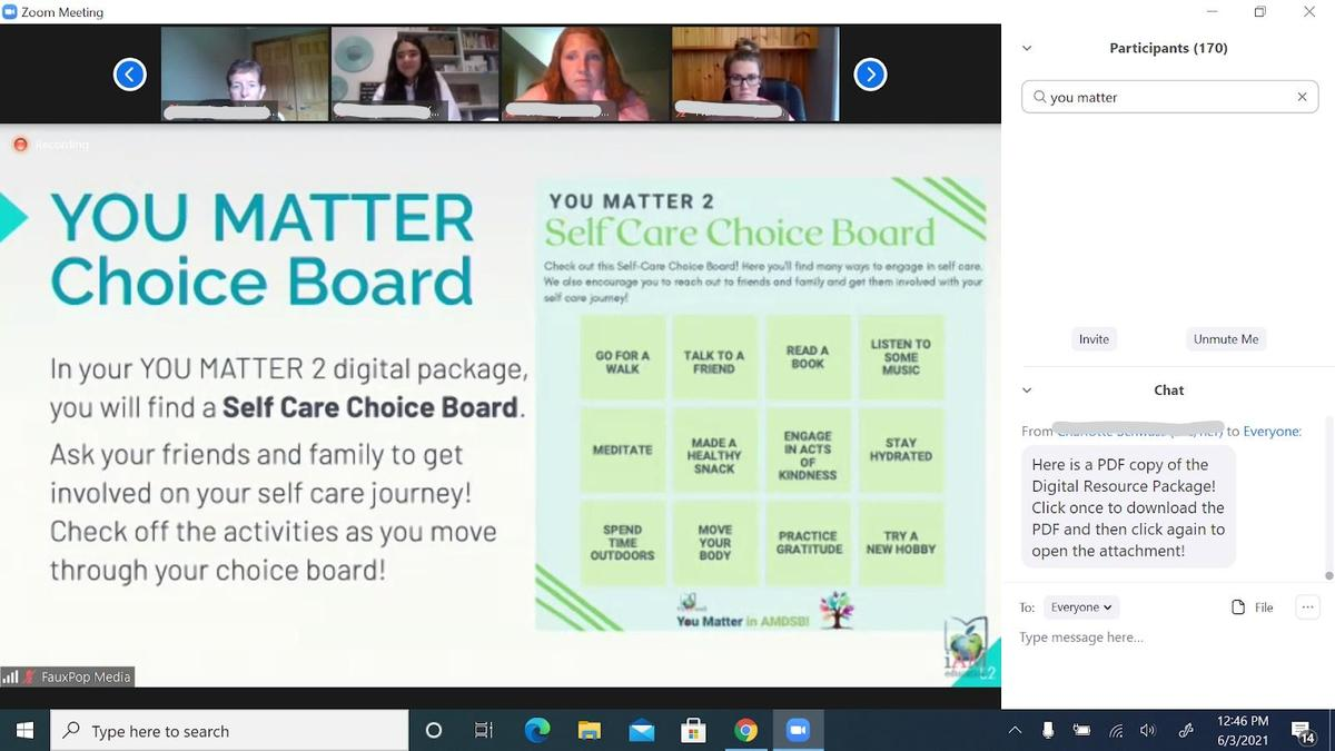 Screenshot from You Matter 2 event - student faces at the top and slide show in the middle