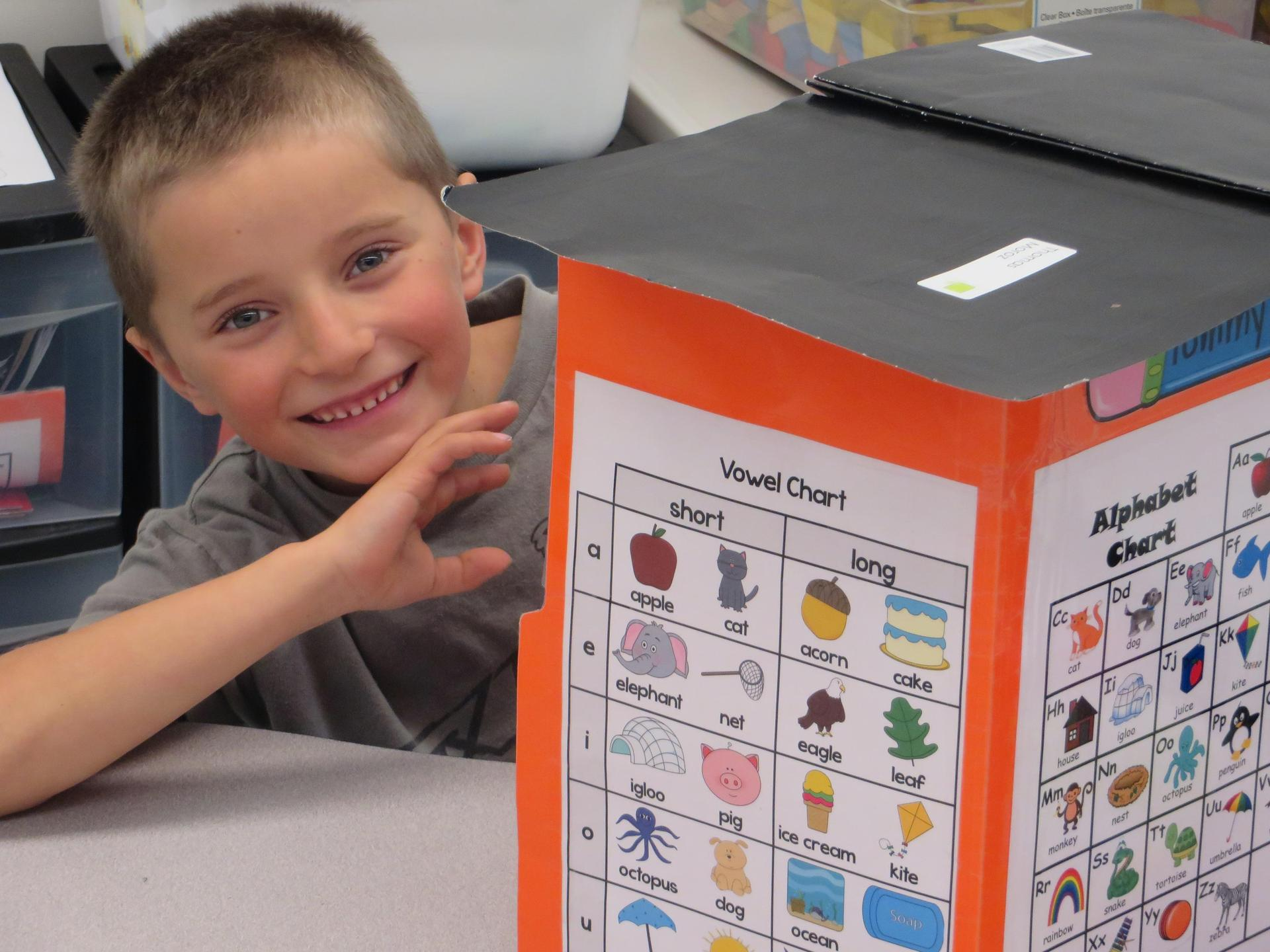 student with word chart