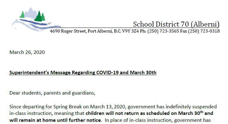 Important Message from SD70 Superintendent, Mr. Smyth Featured Photo