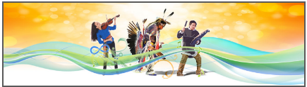 Illustration with Indigenous person playing a violin, another in full regalia doing a dance, and another playing a percussion instrument