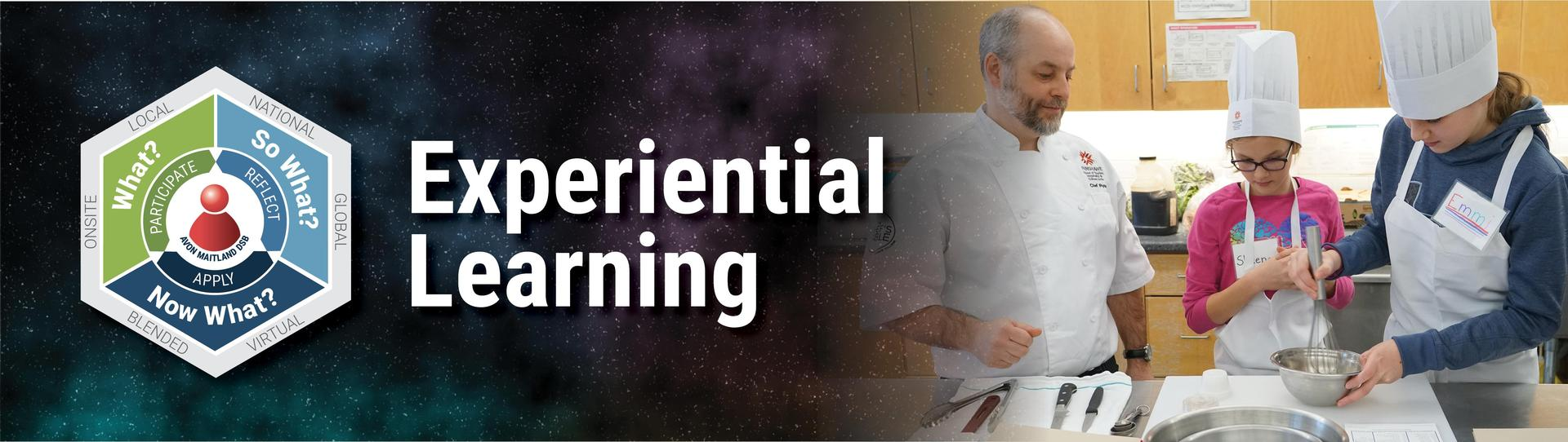 Experiential Learning banner image. Image of chef teaching two young students in the kitchen.