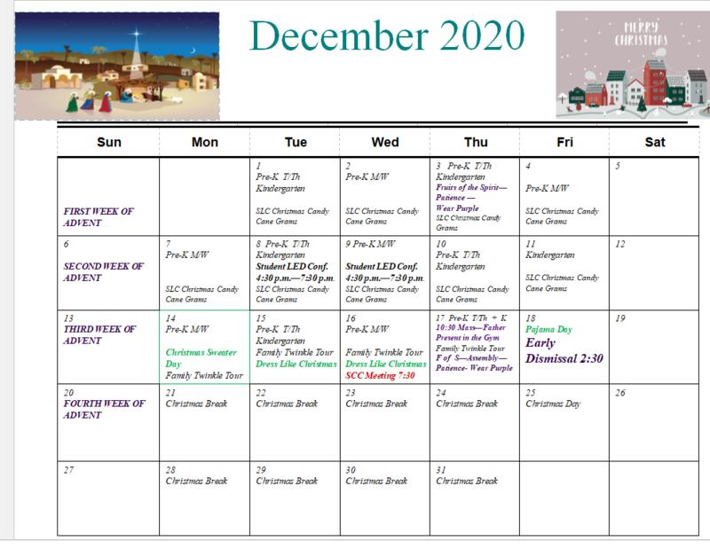 December 2020 Calendar Featured Photo