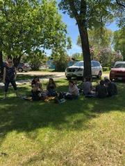 Eating at park