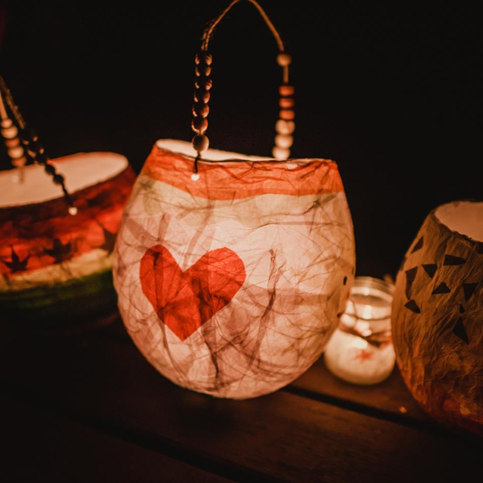 Lantern with heart on it