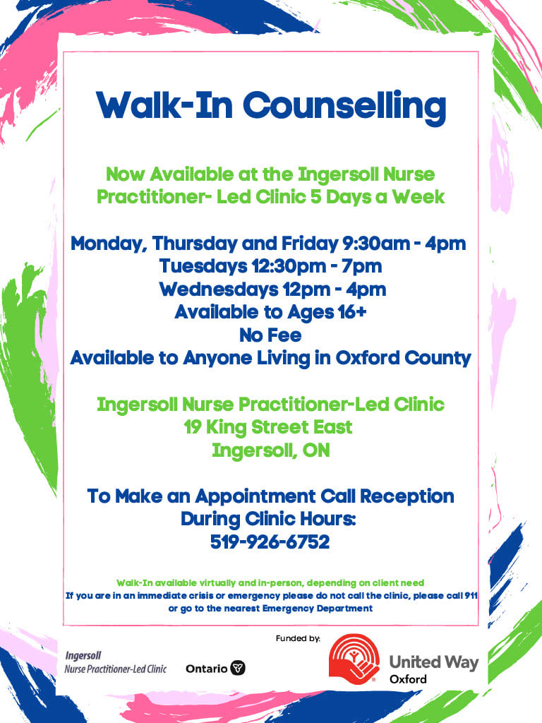 walk in counselling Oxford County