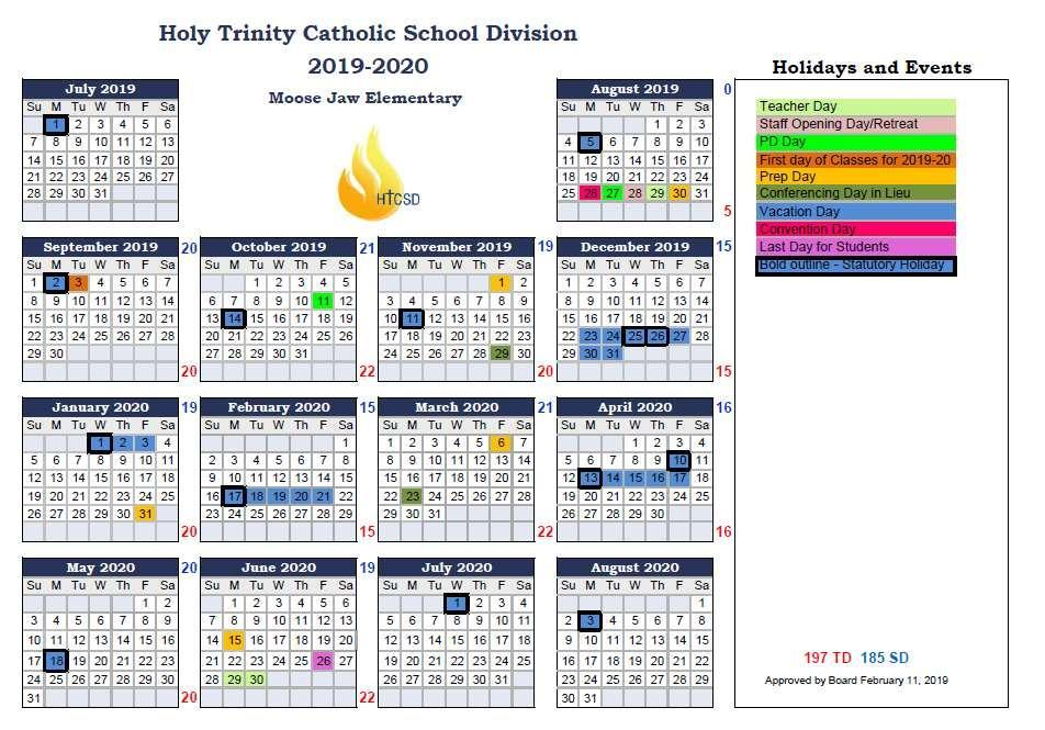 School Year Calendar – About – Sacred Heart School