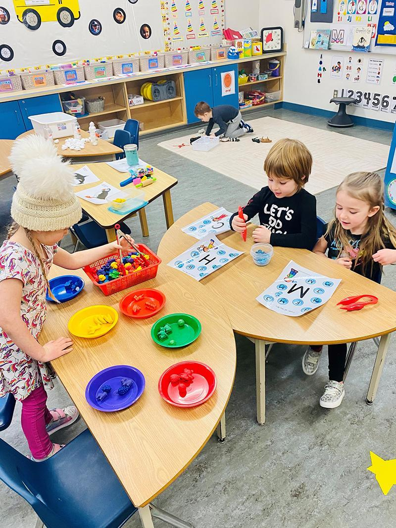 Kindergarten students in a classroom