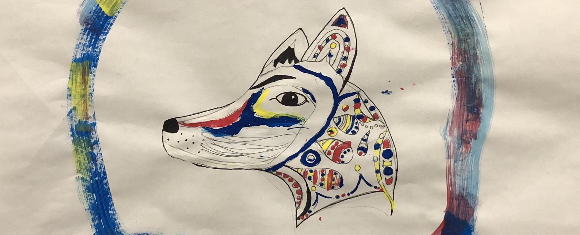 Indigenous style student painting of a fox or coyote