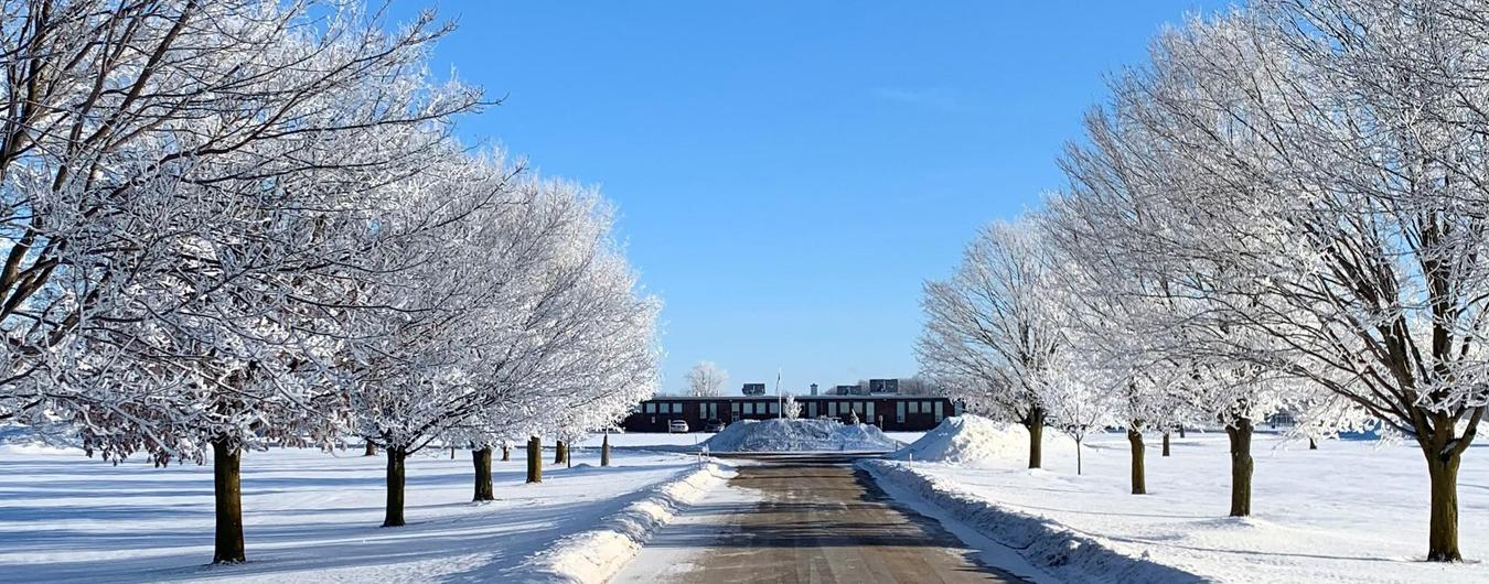Elma Township Public School entry on a beautiful sunny day at the end of February 2021