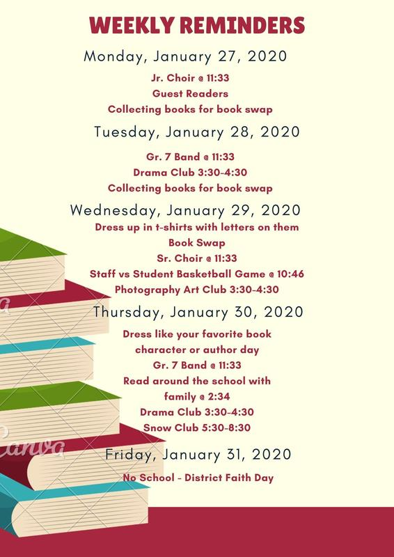Weekly Reminders - January 27-31, 2020 Featured Photo