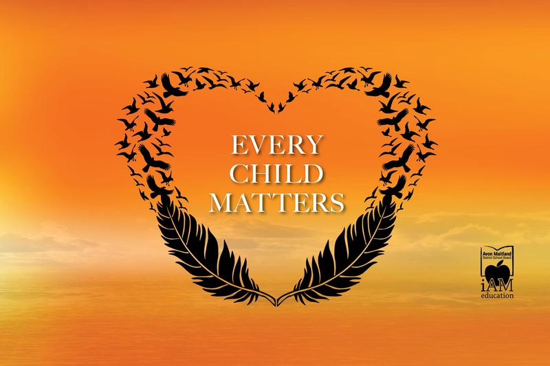 Text: Every Child Matters. Orange sunset background. Illustration of heart shape with feather and flying bird silhouettes. AMDSB logo.