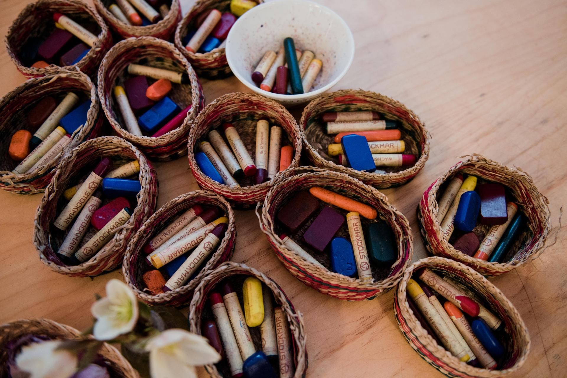 Crayons in baskets