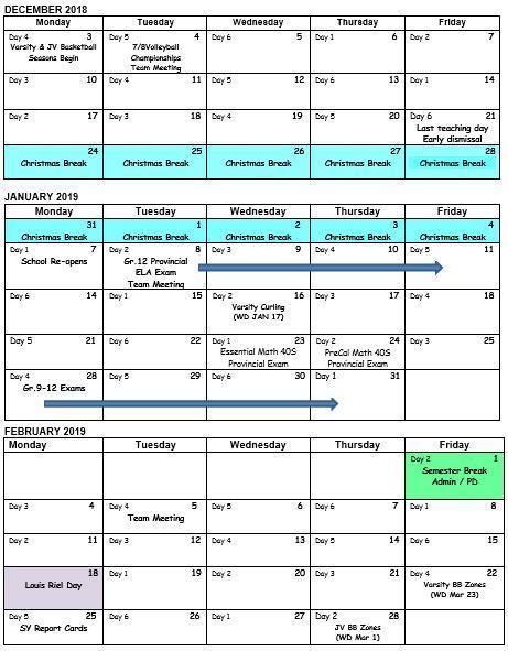 School Calendar Dec-Feb