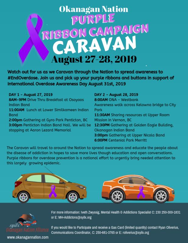 Okanagan Nation Purple Ribbon Campaign Caravan August 27-28, 2019 Featured Photo