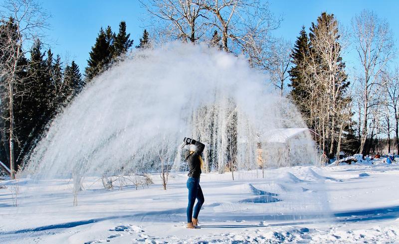 girl making water freeze