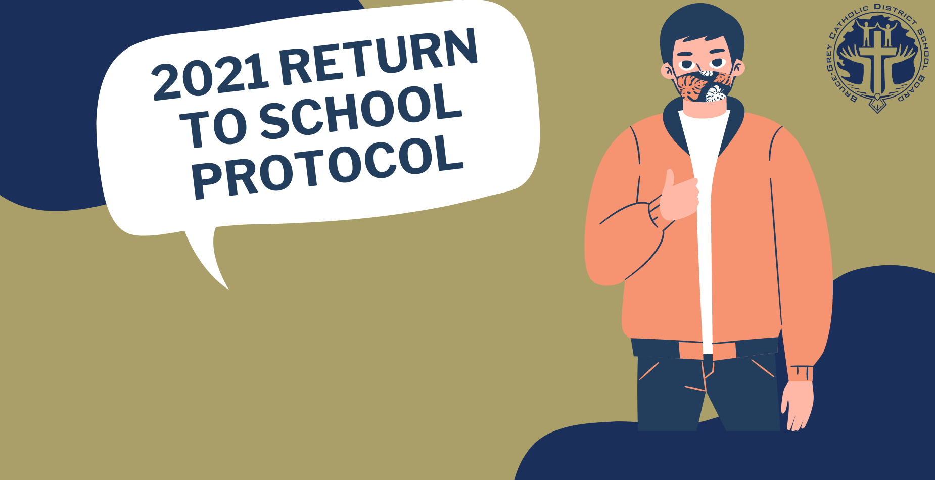 2021 return to school protocol. Image of person wearing mask giving thumbs up