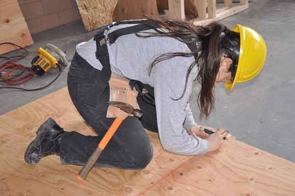Female carpentry student