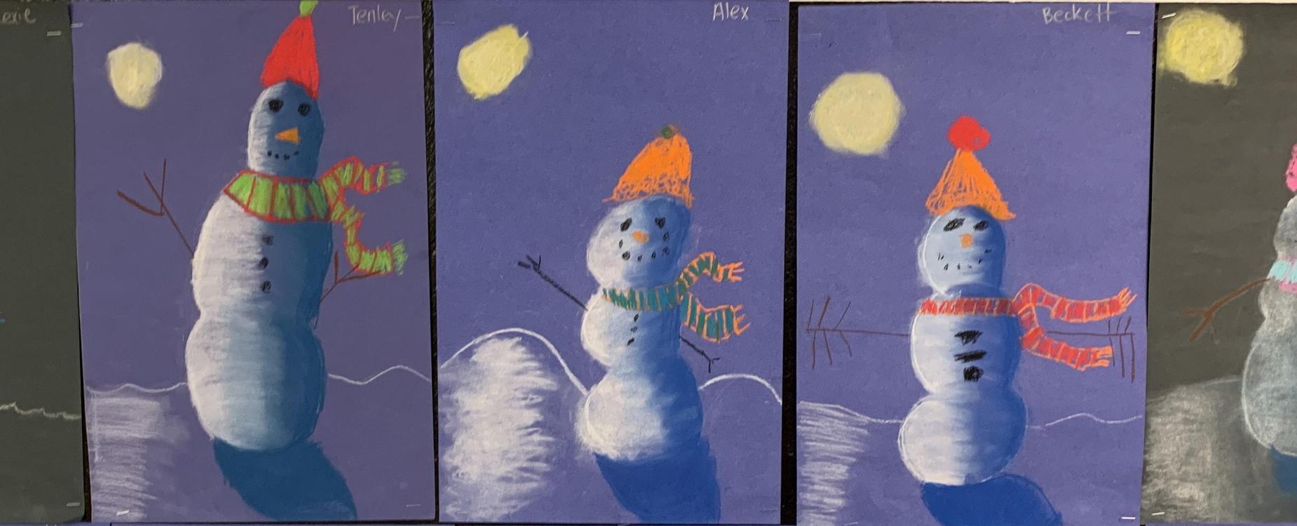 winter art projects - snowmen