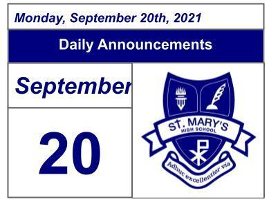 Daily Announcements - Monday, September 20, 2021 Featured Photo