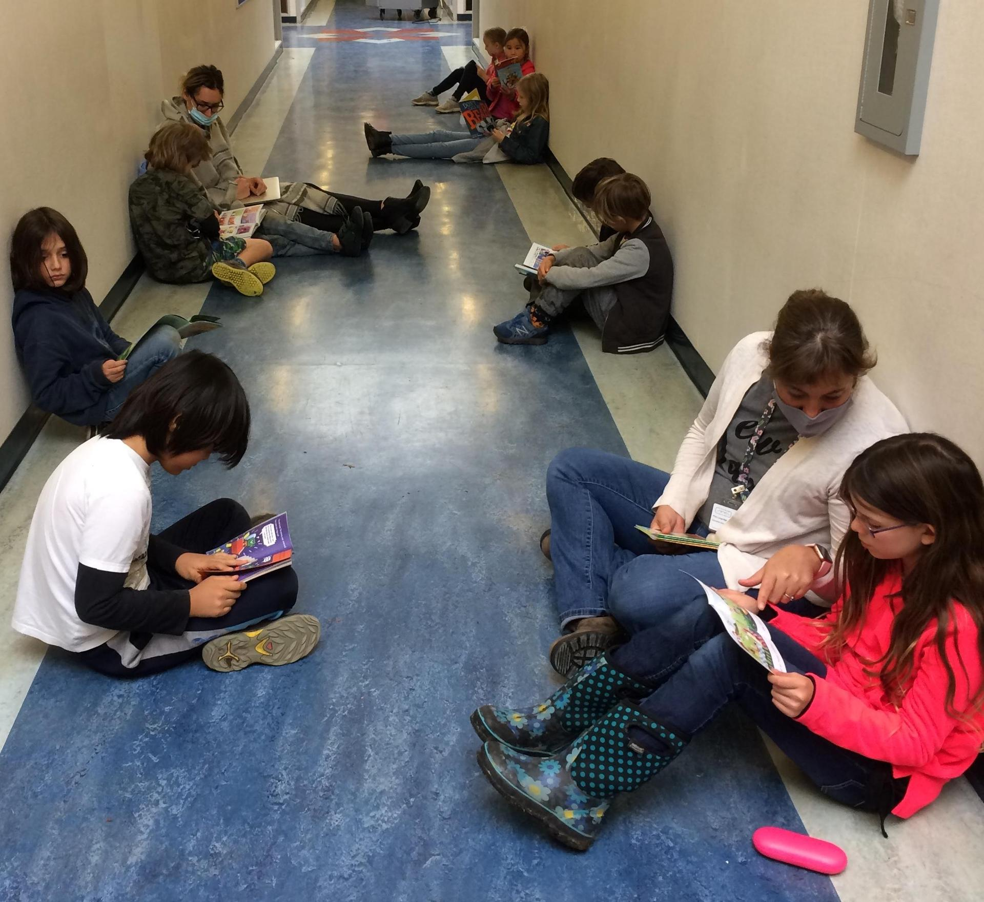 reading in the hallway
