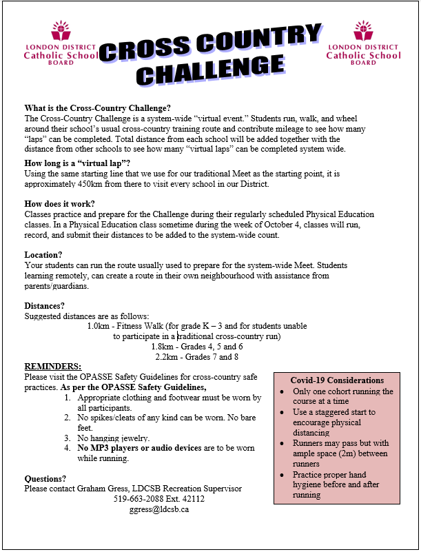 Cross Country Challenge Info