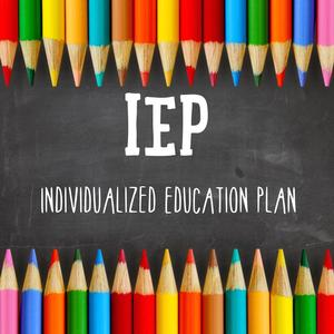 Picture of pencil crayons with the words IEP Individual Education Plan