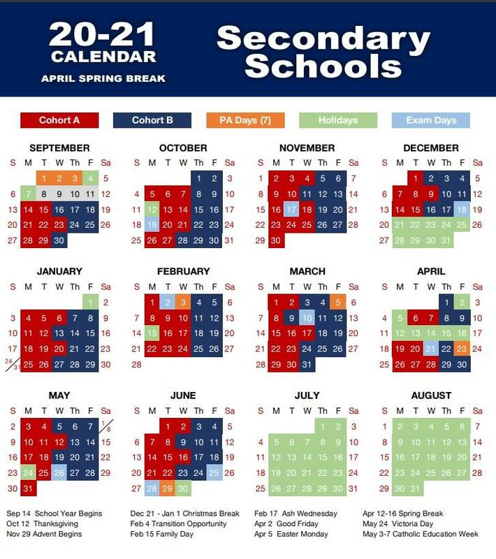 LDCSB Spring Break Calendar pic