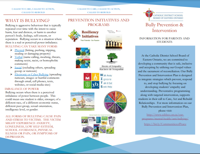 CDSBEO Bully Prevention-Intervention Plan Featured Photo