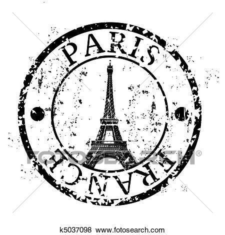 Paris stamp with Eiffel tower