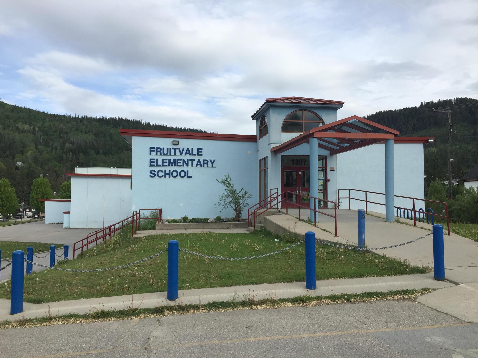 school building in summer