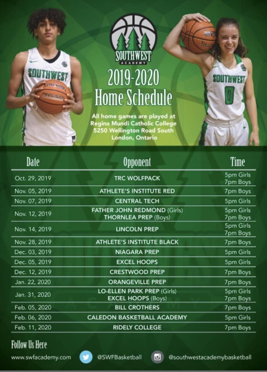 2019-2020 Southwest Home Schedule