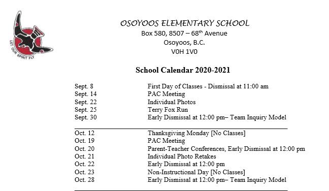 School Calendar 2020-21 Featured Photo