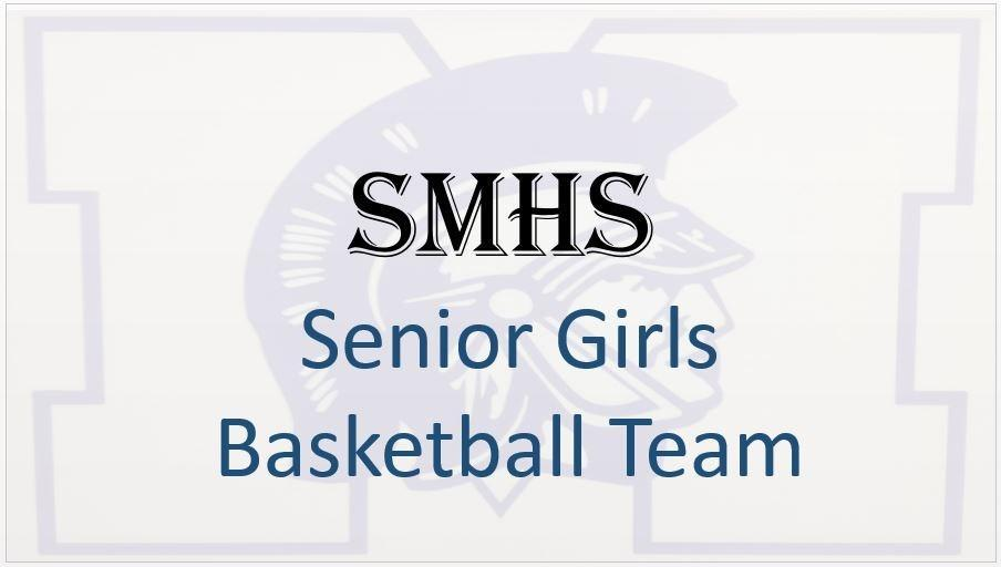 saint Marys logo with senior girls basketball text in front