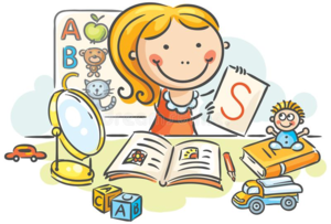 clipart - teacher surrounded by items