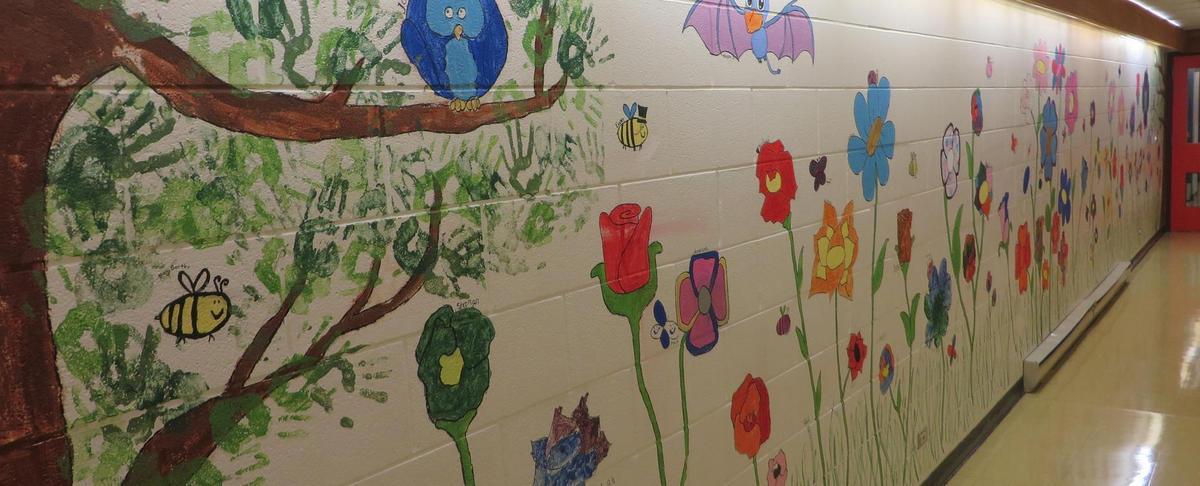 school hallway mural