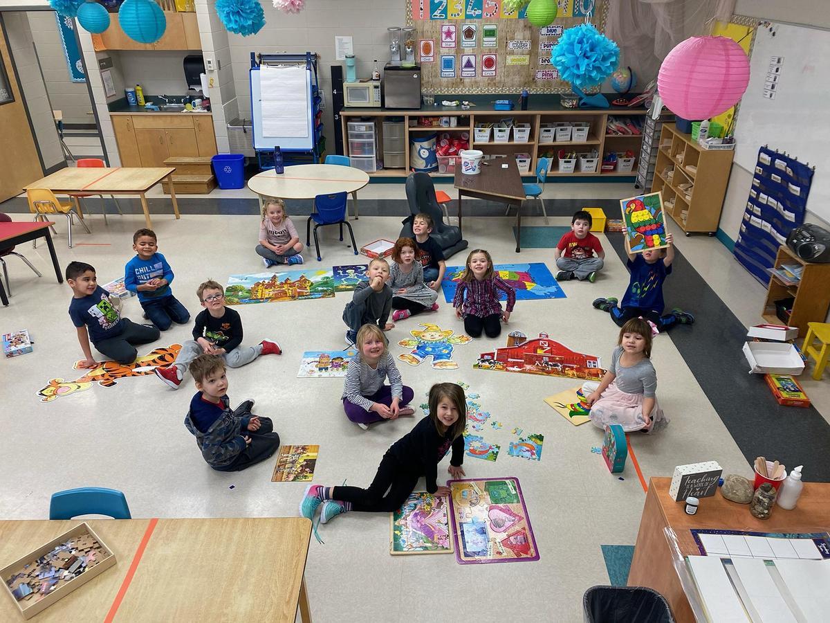 kindergartens in a classroom