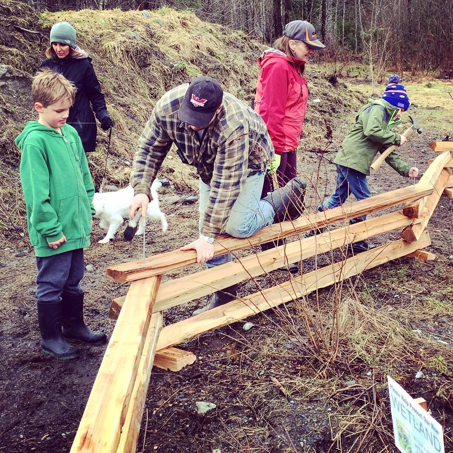 Building the fence around the wetland