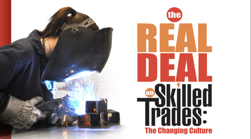Girl wearing a welding helmet leaning over welding with The Real on Skilled Trades off to the right