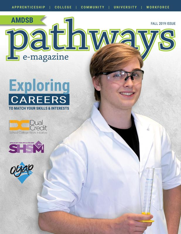 Cover of Pathways e-magazine. Male student wearing lab coat