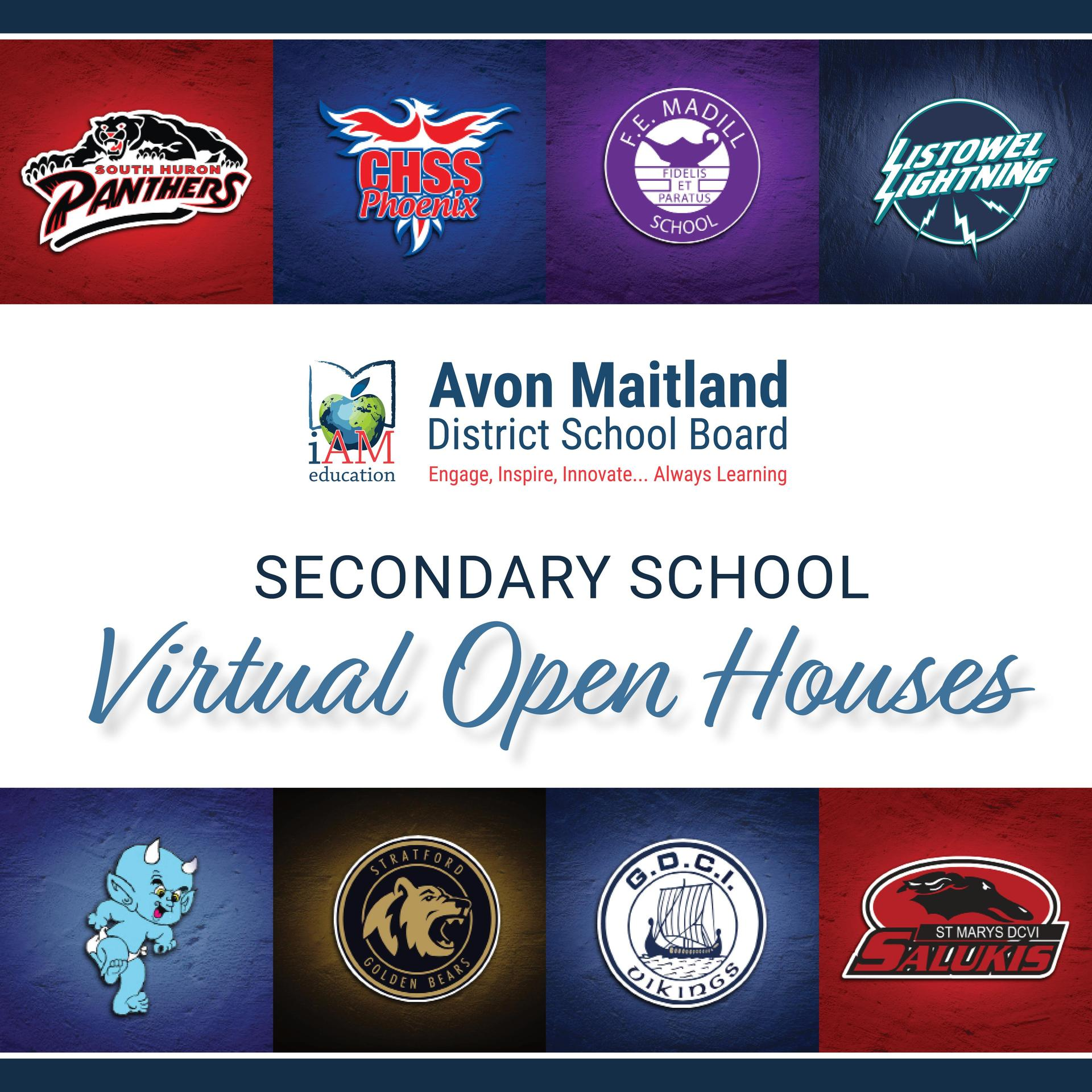 "Collage of secondary school logos around the outside with ""Secondary School Virtual Open Houses"" in the centre"